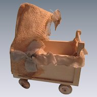 Vintage German Wooden Baby Carriage