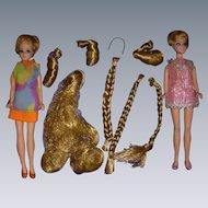 Vintage Dawn Dolls Lot - Dolls - Hair Pieces - Original Clothes