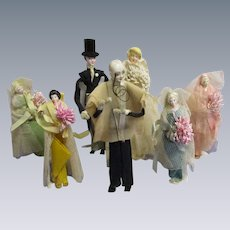 Vintage Bridal Wedding Party Dolls-1920s Crepe Paper Dolls- Lot of 7 Dolls