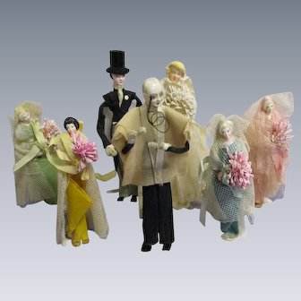 Vintage Bridal Wedding Party Dolls-1920s Crepe Paper Dolls- Lot of 7 Dolls