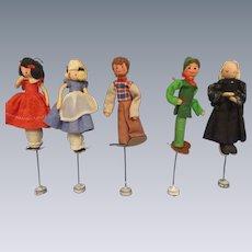 "Vintage German BAPS Puppets ""Alice-Miss Muffett-Grandmother-2 Woodsmen"" Lot of 5"