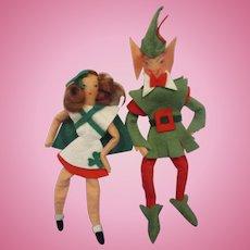 Pair of Felt Novelty Dolls Irish Girl & Leprechaun