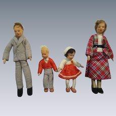 Vintage Erna Meyer Family of 4 All Original Dollhouse Dolls