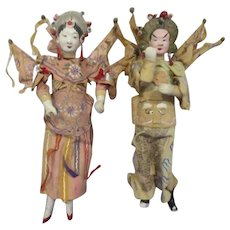Vintage Pair of Ethnic Chinese Dolls in Fancy Dance Costumes