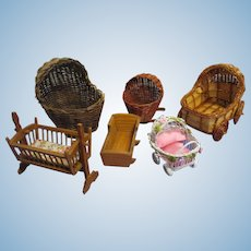 Lot of 6 Wicker and Wooden Baby Cradles & Carriages