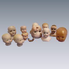 Lot of 10 Vintage & Bisque Doll Heads