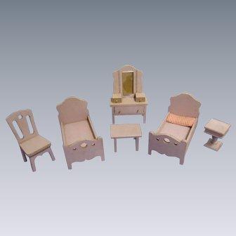 Vintage Strombecker Doll House Bedroom Set