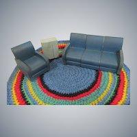 Rare Vintage Strombecker 3 Piece Sectional Sofa-Chair-Floor Radio Doll House Set
