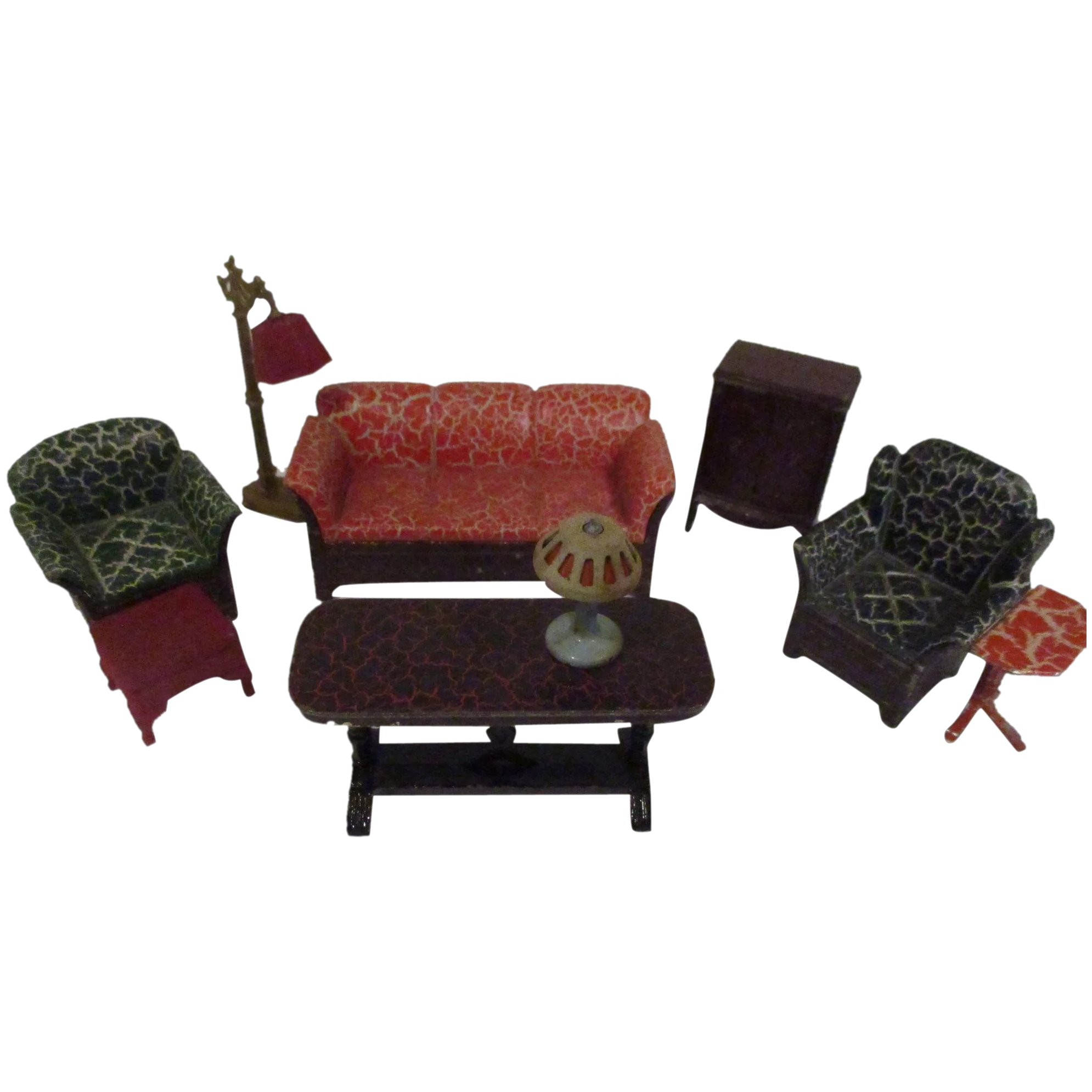 Phenomenal Vintage 1930S Tootsie Toy 9 Piece Living Room Doll House Furniture Set Ncnpc Chair Design For Home Ncnpcorg