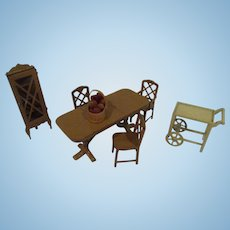 Vintage 1930s Tootsie Toy 6 Piece Dining Room Doll House Furniture Set