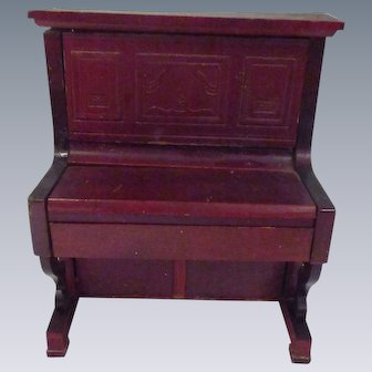 Vintage Art Noveau Red Stained Piano