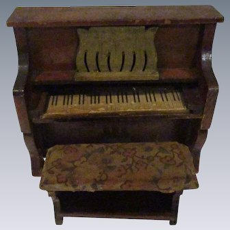 Vintage Wooden Piano with Bench