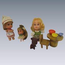 Liddle Kiddles Nurse, Lucky Locket Kiddle & Hasbro Goldilocks Complete Set