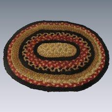 Vintage Miniature Oval Braided Rug