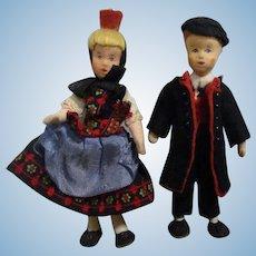 Vintage Erna Meyer Pair of International Dollhouse Dolls