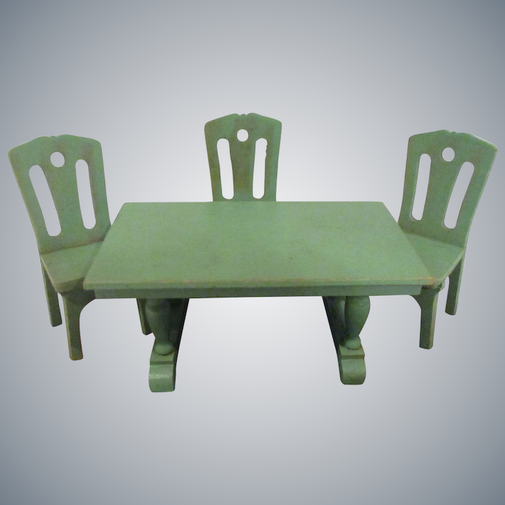 Remarkable Vintage Strombecker 1930S Dining Room Green Table 3 Chairs Doll House Set Machost Co Dining Chair Design Ideas Machostcouk