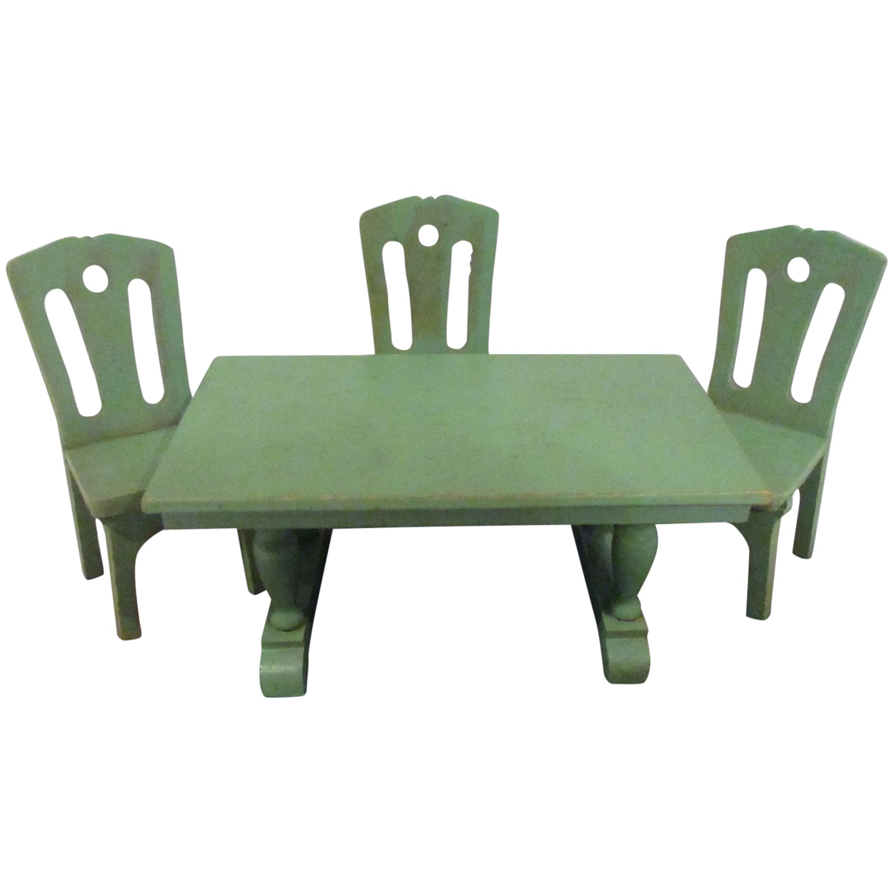 Vintage Strombecker 1930s Dining Room Green Table 3 Chairs Doll House Set