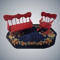 Vintage Red Wooden Settee and Rocker Set