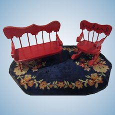 Vintage Red Wooden Settee and Rocker Set