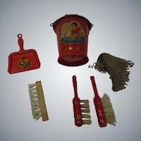 Vintage Doll Cleaning Set - Bucket -Dust Brushes -Scrub Brush - Dust Pan
