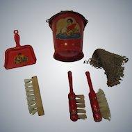 Vintage Doll Cleaning Set - Bucket -Dust Brushes -Scrub Brush - Dust Pan