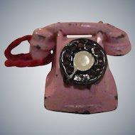 Vintage English Metal Pink Phone