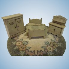 Vintage German Miniature Dollhouse Bedroom Set