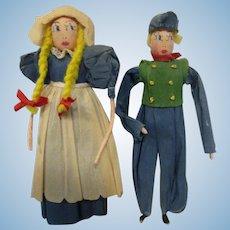 Vintage Crepe Paper Dolls Dutch Pair All Original