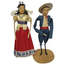 Vintage Crepe Paper Dolls Ethnic Mexican Pair All Original