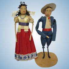 Vintage Crepe Paper Dolls Ethnic Mexican Pair All Original