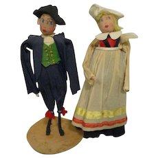 Vintage Crepe Paper Dolls Ethnic European Pair All Original