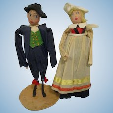 Vintage Crepe Paper Dolls Ethnic European Pair All Original