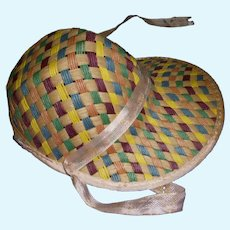 1950's Vintage Straw Hat Very Colorful