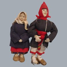 Vintage Russian Pair Woman & Girl Dolls All Original