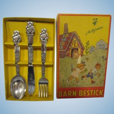 "Vintage Swedish Child's ""Teddy Bear""Flatware Set MIB"