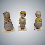 German All Bisque Nodders Lot of 3