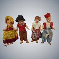 Vintage Painted Bisque German Dolls Lot of 4