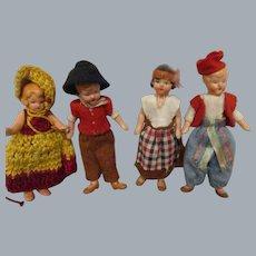 Vintage Painted Bisque German Dolls Lot of 4