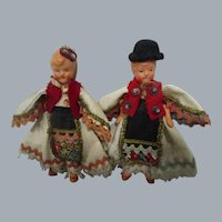 Vintage German Painted Bisque Dolls Pair of 2