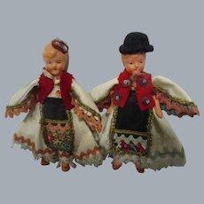 Vintage German Painted Bisque Dolls Pair of 2