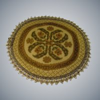 Vintage Round Needle Point Doll House Rug