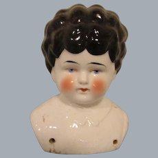 """Bertha"" Pet Name German Glazed Porcelain China Shoulder Head by Hertwig"