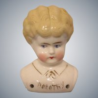 """Dorothy"" Pet Name German Glazed Porcelain China Shoulder Head by Hertwig"