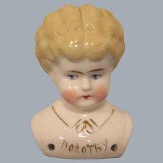 """""""Dorothy"""" Pet Name German Glazed Porcelain China Shoulder Head by Hertwig"""