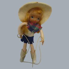 """Vintage 1940s Tiny Town """"Cowgirl"""" Doll"""