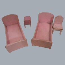 Vintage 1930s Strombecker Pink Wooden Bedroom Set
