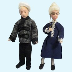 Vintage Erna Meyer Grandfather and Grandmother Pair of Dollhouse Dolls