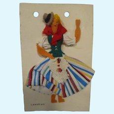 Vintage Felt Doll on Display Card