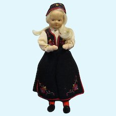 "Vintage 7 1/2"" Ronnaug Petterssen Cloth Doll All Original"