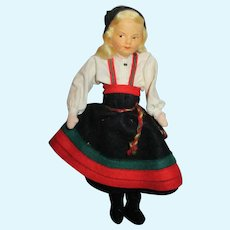 "Vintage 7 1/2"" Ronnaug Petterssen Cloth Doll All Original"